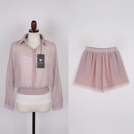 <b>[SAMPLE SALE] 3PCS透明短裤套装</b>